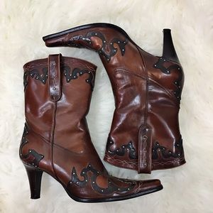 Antonio Melani Leather Cowboy Boots In 8M